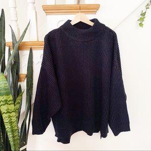 TOPSHOP Mock Neck Sweater navy blue sz 12 NWT